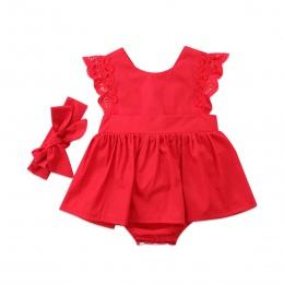 2 sztuk Czerwony Kwiat Słodkie Newborn Baby Dziewczyny Body Tutu Sukienka Kombinezon Hole Stroje Opaska Zestaw Ubrania 0-24 M