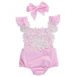 Cute Noworodka Dziewczynek Ubrania Różowe Koronki Kwiatowy Body Stroje Sunsuit 0-18 M