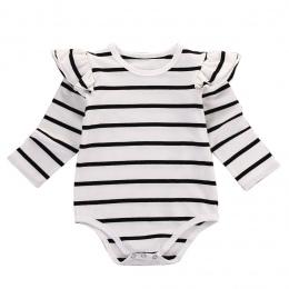 Bawełna Noworodka Baby Boy Dziewczyny Odzież Bluzki Body Z Długim Rękawem Bawełna Striped Kombinezon Odzież Stroje