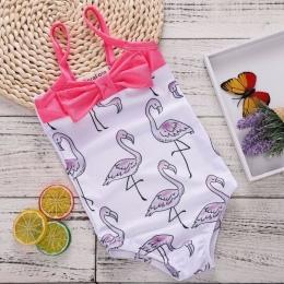 2018 New Arrivals Dzieci Kostiumy Kąpielowe Dziewczyny Ubrania Flamingo Wzór Backlees Pasek Body Letnie Flamingo Stroje Różowy M