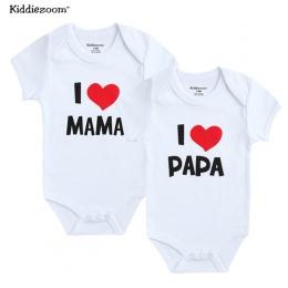 Noworodka Body 2 Sztuk/partia Bawełna Kocham Papa Mama Projekt Drukowanie Lato Bodys Odzież Kombinezon Krótkie Dziewczynka Ubran
