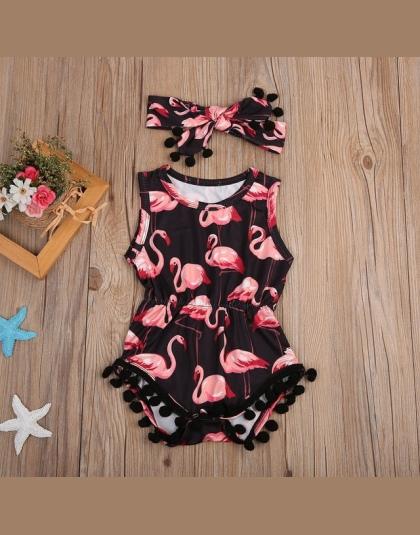 1effea56007d4 Flamingo Romper Lato 2 Sztuk Zestaw Odzieży Odzież Letnia Dla Dzieci Z  Pałąkiem na Głowę Dla