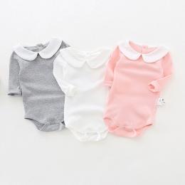 Słodkie Newborn Baby Girl Odzież Z Długim Rękawem Bawełna Solidna Baby Pajacyki Peter Pan Kołnierz Dziewczyny Kombinezon Odzież