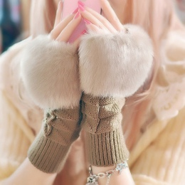 1 para Moda Kobiety Faux Rabbit Fur Ręka Rękę Szydełka Dzianiny Fingerless Rękawice Dziania Rękawiczki Zimowe Jesień Cieplej