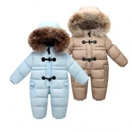 Przeznaczony do Rosyjski zima dziecko snowsuit, 90% kaczki dół kurtki dla dziewczynek płaszcze Zimowe Park dla chłopiec niemowlą
