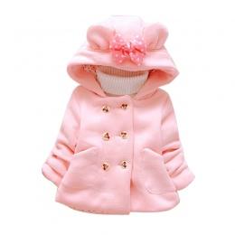 Dziecko Winter Parka Plus Gruby Velvet Dziewczynek Snow Wear Bow Berbeć Dziewczyny Odzież Dla Niemowląt Dziewczyny Odzież Wierzc