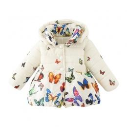 Maluch Dziewczynek Kurtka Zimowa Płaszcz Dzieci Jesień Odzieży Dziewczynka Bawełna Butterfly Drukuj Kurtka Dzieci Ubrania