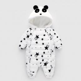 2018 Zima Panda Baby Pajacyki Kombinezony Body Kombinezon Noworodka Dziewczynka Chłopiec Kaczki Dół Snowsuit Dzieci niemowląt Zu