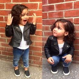 Moda Dla Dzieci Dziewczyny Kurtki Skórzane PU Krótki Płaszcz dla Dziewczyna niemowlę dziecko kurtka Odzieży Tkaniny Wysokiej Jak