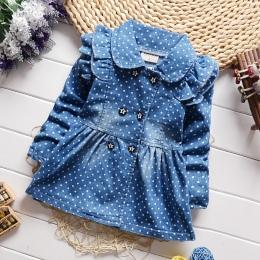 BibiCola Dzieci odzież dżinsowa płaszcz dla dziewczynek kurtki jesień i wiosna znosić ubrania dla dzieci baby girl top stroje