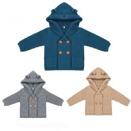 Baby Boy Knitting Cardigan 2018 Zima Ciepłe Noworodka Swetry Moda Długim Rękawem Z Kapturem Płaszcz Kurtka Odzież Dla Dzieci Str