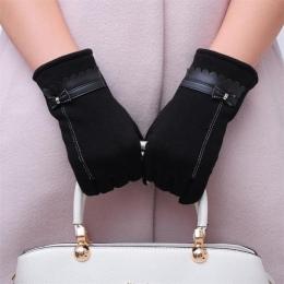 Bezpłatne Struś Rękawice Zimowe Ciepłe Rękawiczki 2018 Kobiety Luksusowe Bowknot Elegancki Lady Rękawice Zimowe Stałe PU Skórzan