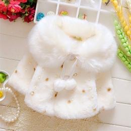 Piękny Faux Futra dla Dziewczynek Jesień Zima Czarny Dot Odzież Dziecko Wełna Znosić Dziewczynka Kształtki Szal Dzieci kostium