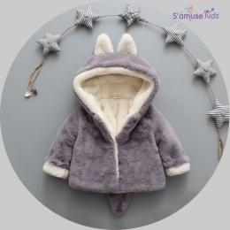 Modna ciepła kurteczka dla malucha dziecięca kaptur z uszkami pluszowe pompony na guziki na zamek futerko