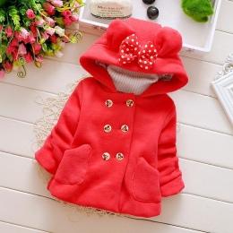 Dziewczynka kurtka dziecko płaszcz tkaniny Welurowej odzieży dla niemowląt piękny Łuk płaszcz płaszcz zimowy Noworodka dziewczyn