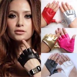 1 para Moda Rękawice Half Finger PU Skórzane Ladys Fingerless Jazdy Pokaż Akcesoria Taneczne guantes mujer