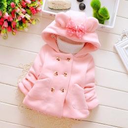 2017 nowa moda zima dziewczyny sweter z kapturem kurtka kurtka czapka dla dzieci w wieku 0-1-2-3 gruby płaszcz płaszcz