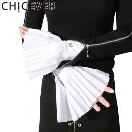 [CHICEVER] Wiosna Narządów Mankiet Plisowana Róg Mankiety Kobiety Nowa Moda Odzież