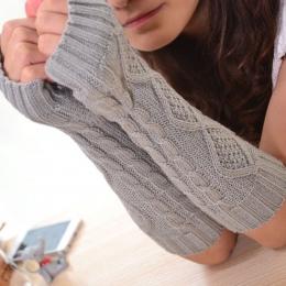 1 Para Moda Jesień Zima Wiosna Ciepłe Kobiety Panie Dziewczyna Stałe Rękawice Mitenka Długi Fingerless Rękawice Dziania Wełny