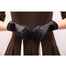 Damskie Rękawiczki Zimowe Ciepłe Czarny PU Skórzane Rękawice Rękawice z Ekranem Dotykowym Dla Kobiety