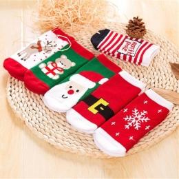 1 Para Bawełna Wiosna Zima Jesień Dziecko Dziewczyny Chłopcy Dzieci Skarpety Dziecięce Paski Frotte Łosia Śniegu Santa Claus Chr