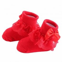 Nowe Mody Łuk Koronki Dziecko Skarpety Newborn Bawełna Dziewczynek Sock Śliczne Maluch Skarpetki Księżniczka Party