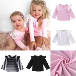 2016 Jesień Newborn Baby Dziewczyny Maluch Dzieci Ubrania Bawełniane Koronki Latające Strój Bluzka Z Długim Rękawem Koszulki Top
