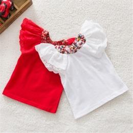 Krótki Rękaw T-shirt Dziewczyna Floral Collar T-shirty Dla Dzieci Dziewczynek Bluzki Bluzka Śliczne Tee Koszula 0-2Years