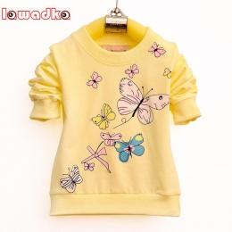 Lawadka Dziewczynek T-shirt Piękny Motyl Zespół Sportowy Z Długim Rękawem Koszulki dla Dziewczynek Bawełniane Ubrania Dla Dzieci