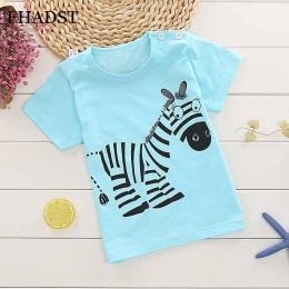 FHADST Moda Dla Dzieci 0-2 lat Chłopcy T shirt Z Krótkim Rękawem Niebieski zebra Casual tees Charakter Cute Animal Nowe Fajne Ba