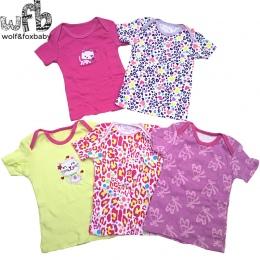 Detal 5 0-24months sztuk/paczka krótkim rękawem t shirt Dla Dzieci kreskówka Niemowlę noworodka ubrania dla chłopców dziewczyny