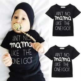Newborn Baby Chłopcy Dziewczyna Bluza Bawełniana Z Krótkim Rękawem Czarny T-shirt Ubrania Casual List MAMA Topy Stroje 0-24 M