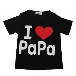 """Dziewczynek Chłopiec T-Shirt Dla Dzieci Z Krótkim Rękawem Drukuj """"i love papa mama"""" Topy Newborn Chłopcy Letnie Ubrania Góry tee"""