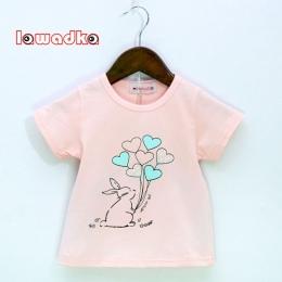 Lawadka Królik Balon Wzór Sportowe Dla Dzieci Dziewczyny Chłopcy koszulka Z Krótkim Rękawem koszulki dla Dziewczynek Bawełniane