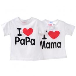 Dziecko Dzieci Unisex Koszulkę Chłopcy i Dziewczyny Z Krótkim Rękawem T-shirt I Love Mama i Tata Miłość Sekcja Bawełna Topy tee