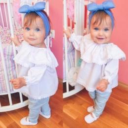 Newborn Baby Dziewczyny Koronki Off Ramię Z Długim Rękawem Topy Koszulki Ubrania