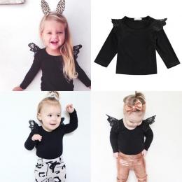 Bawełna noworodka Ubrania dla dzieci z długim rękawem jesień Niemowląt Dzieci Dziewczynka Koronki Ramię Koszulki Topy Outfit