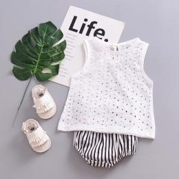 Moda Dla Dzieci Śliczna Koronka Hollow Topy T-shirt Bluzka Biała Stroje Noworodka Dziewczynka Bawełniana Koszulka Bez Rękawów 20