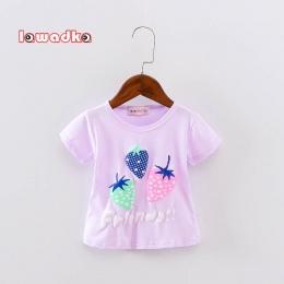 Nowe Sportowe Dla Dzieci Dziewczyny Chłopcy koszulka Z Krótkim Rękawem Strawberry Wzór koszulki dla Dziewczynek Bawełniane Ubran