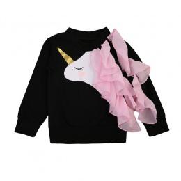 Pudcoco baby girl odzież 2017 jesień nowe dziewczyny bawełny z długim rękawem czarny tkaniny jednorożec druku t shirt