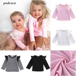 Newborn maluch dzieci latające tee ubrania z długim rękawem t-shirty dla dzieci dziewczyny śliczna wiosna jesień clothing t-shir