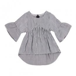 Dziecko Dzieci Dziewczyna Niemowlę przednia krótki powrót długi T-shirt W Paski Głośnik rękawem Bawełniane T-shirty Ubrania Stro