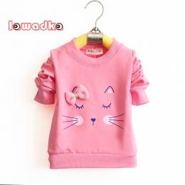 Lawadka Kot Kreskówka Dziecko Dziewczyny T-shirt Z Długim Rękawem Zespół Sportowe Koszulki dla Dziewczynek Bawełniane Ubrania Dl