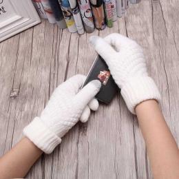 Stałe Rozciągliwy Knit Rękawice Rękawice Kobiet Dziewczyny Ciepłe Zimowe Pełne Palców Rękawice Guantes Kobiet Szydełku Ręcznie A