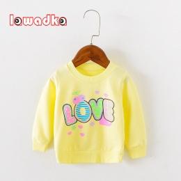 Lawadka Marka Miłość Wzór Z Długim Rękawem Topy Jesień Odzież Baby Boy Dziewczyny Bluzy Dla Dzieci t-shirty dla Babys Dziewczyny