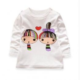 Baby girl ubrania 100% bawełna druku dzieci dziewczyna t shirty nova marka dzieci odzież cartoon biały t shirt dla dziewczyn now