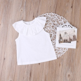 Baby Girl Ubrania Miękkie Bawełniane Bez Rękawów Ruffles Casual Topy Crew Neck Lato Bluzka Stałe Biała Koszula noworodka ubrania