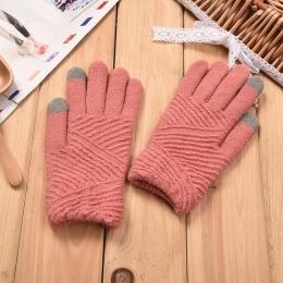 Damskie Rękawiczki Zimowe Rękawice Ekran Dotykowy Rękawiczki Wełniane Dzianiny Utrzymać Ciepłe Kobiet Zima Pełna Finger Rękawice