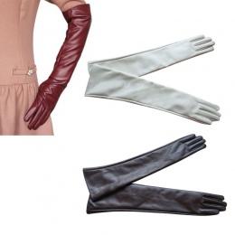 Hot Sprzedaż Kobiety 7 Kolory Opera Wieczorne Party Rękawice Faux Leather PU Ponad Kolano Długie Rękawiczki 2017 Nowy