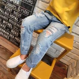 Chłopcy i Dziewczęta Ripped Jeans Wiosna Lato Jesień Styl 2018 Trendu Distrressed Dziura Spodnie Jeansowe Spodnie Dla Dzieci Dzi